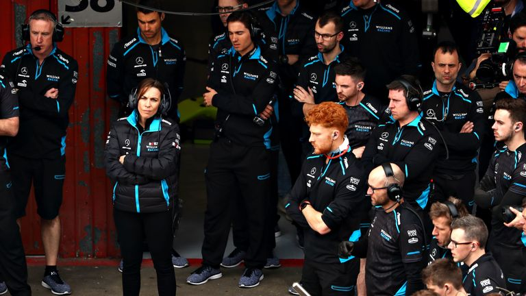 Claire Williams looks on from the Williams F1 garage