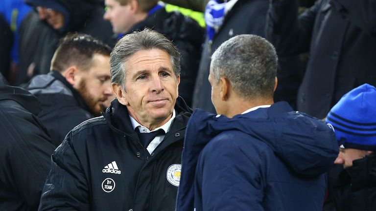 Chris Hughton (right) has sympathy for sacked Leicester boss Claude Puel