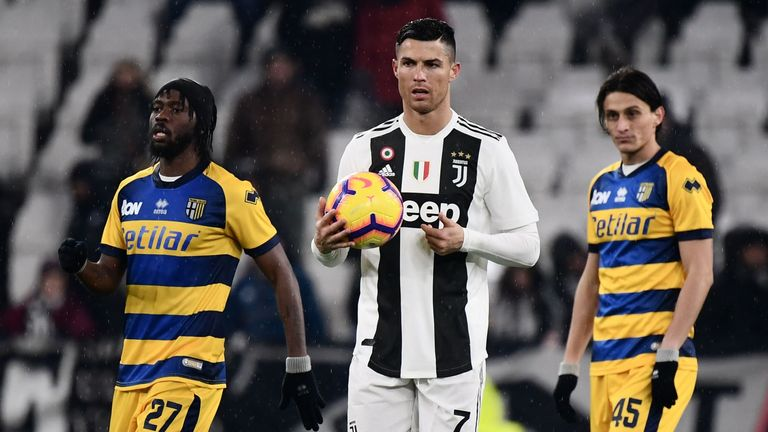 Cristiano Ronaldo scored twice for Juventus, but they were held to a draw by Parma