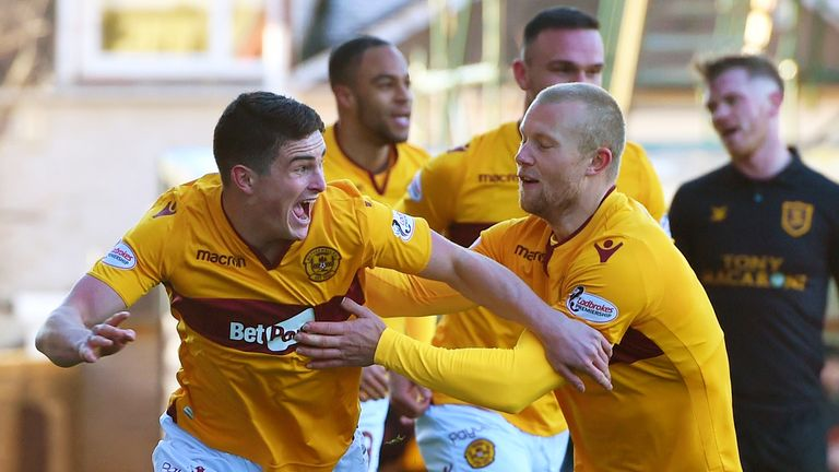 Jake Hastie scored twice for Motherwell on Saturday with Curtis Main (R) also getting on the score sheet in the 3-0 win over Livingston