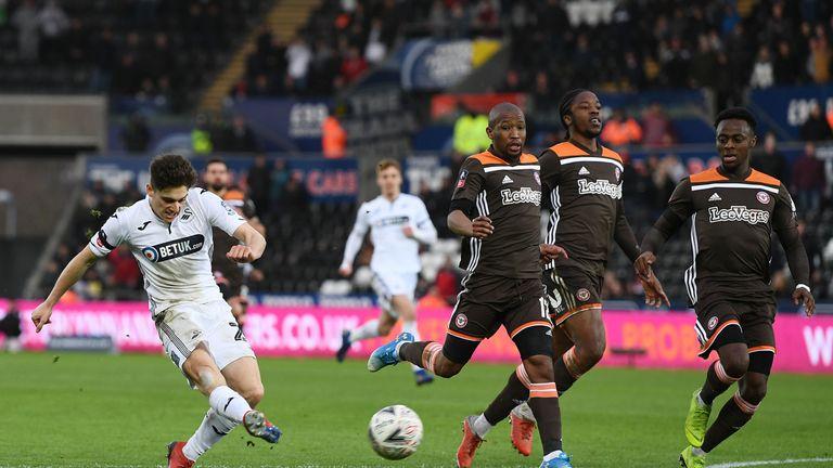Dan James put Swansea ahead against Brentford with a fine solo goal
