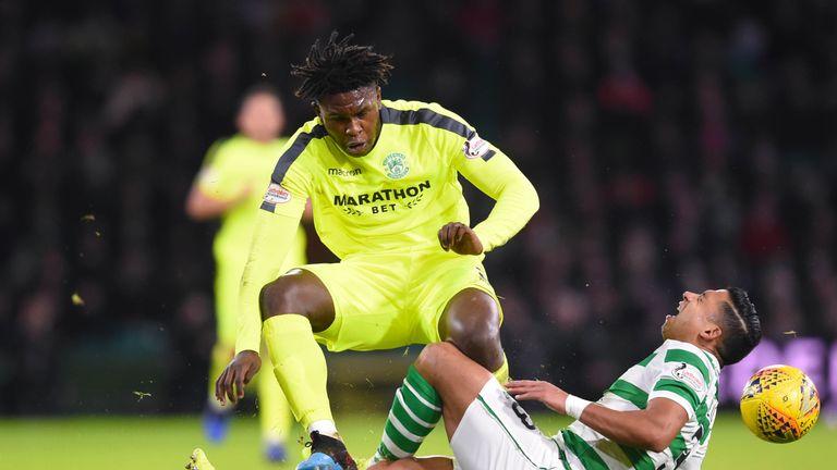Darnell Johnson, Hibernian heavy challenge on Emilio Izaguirre, Celtic