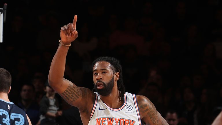 DeAndre Jordan #6 of the New York Knicks thanks teammate after play against the Memphis Grizzlies on February 3, 2019 at Madison Square Garden in New York City, New York.