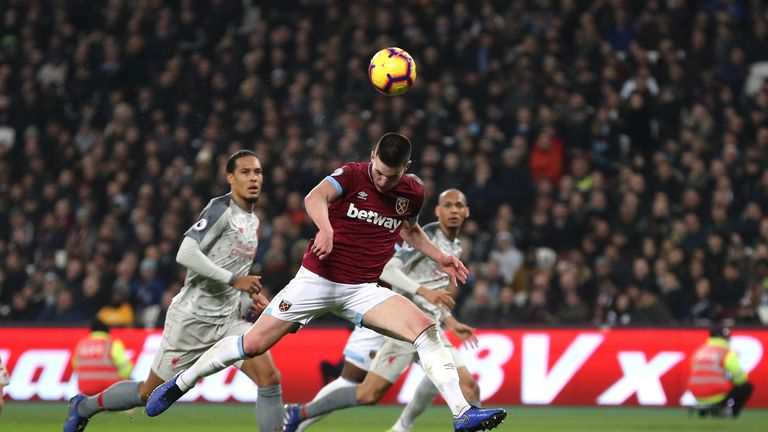 Declan Rice misses a good chance with after poor Liverpool defending