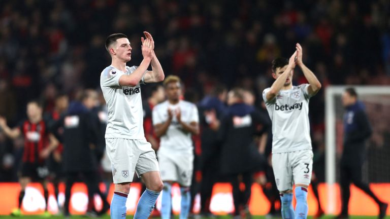 Declan Rice during the Premier League match between AFC Bournemouth and West Ham United at Vitality Stadium on January 19, 2019 in Bournemouth, United Kingdom