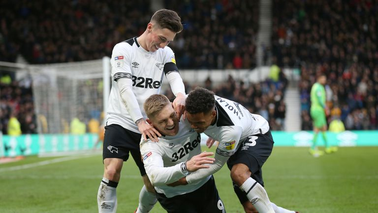 Martyn Waghorn celebrates scoring for Derby