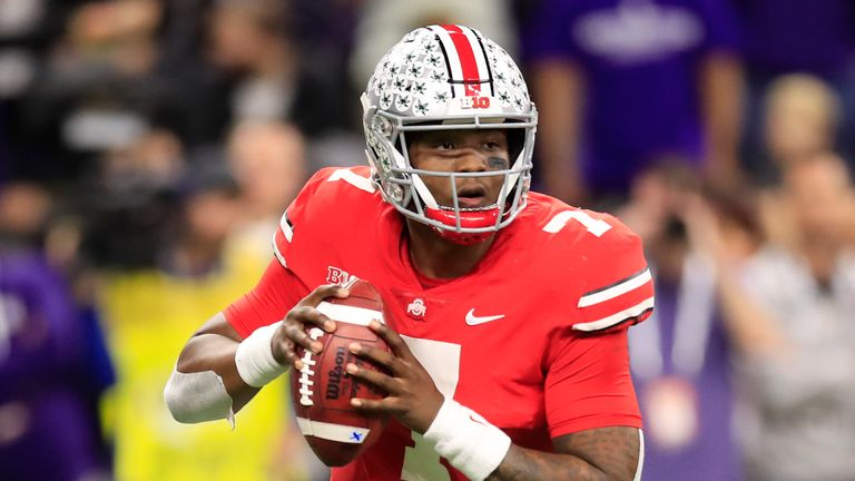 Dwayne Haskins Jr. #7 of the Ohio State Buckeyes throws a pass down field in the game against the Northwestern Wildcats in the second quarter at Lucas Oil Stadium on December 01, 2018 in Indianapolis, Indiana.