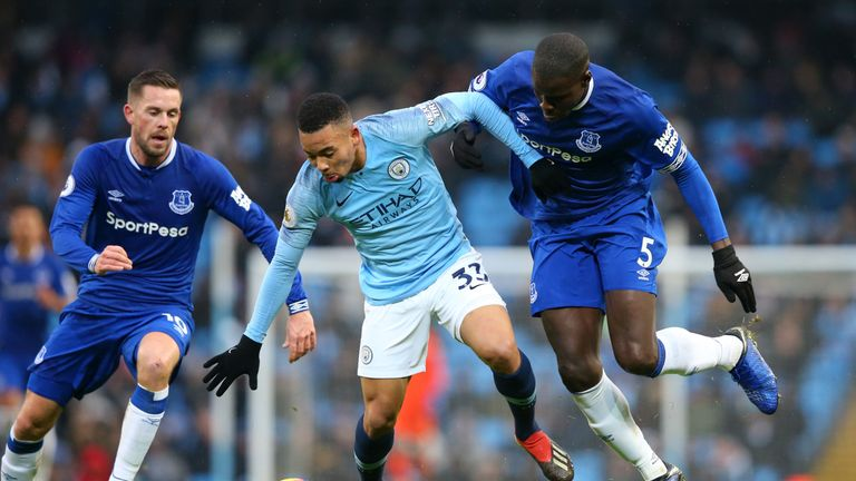 Action from Manchester City vs Everton in the Premier League