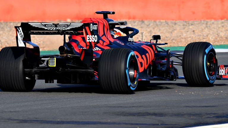 Max Verstappen drives the new Red Bull RB15 for the first time