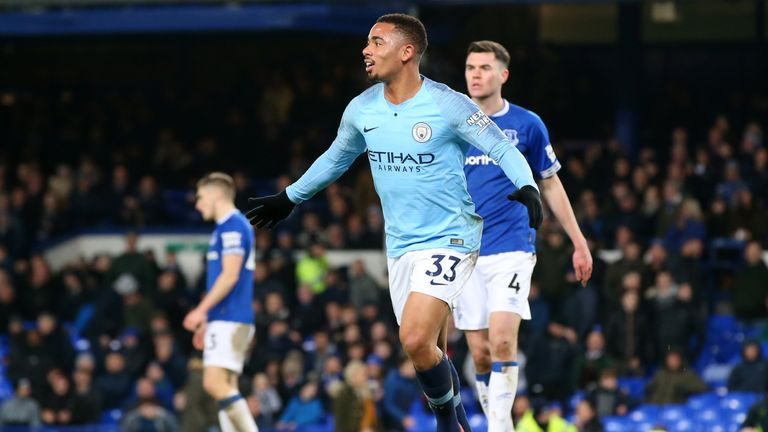Gabriel Jesus celebrates his 97th-minute goal for Manchester City at Everton