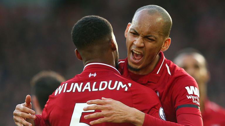Georginio Wijnaldum celebrates with Fabinho after scoring Liverpool's second goal