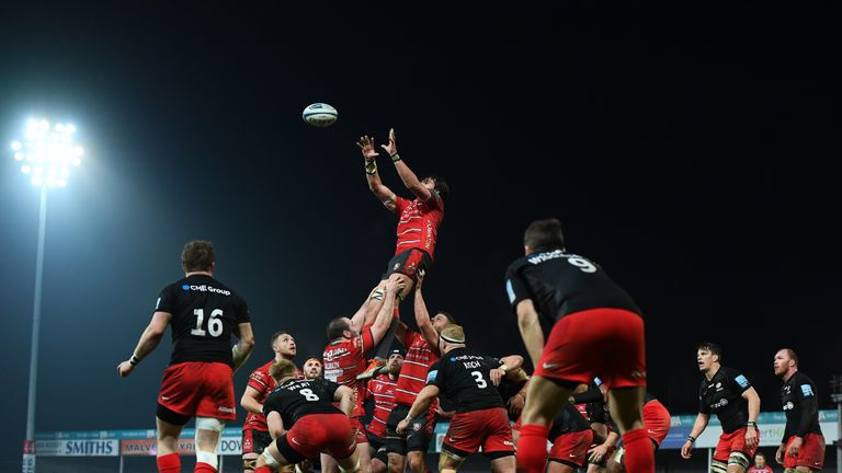Gloucester secure a lineout during their victory over Premiership rivals Saracens at Kingsholm