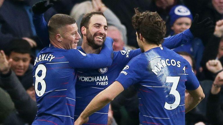 Gonzalo Higuain celebrates scoring Chelsea's fourth goal