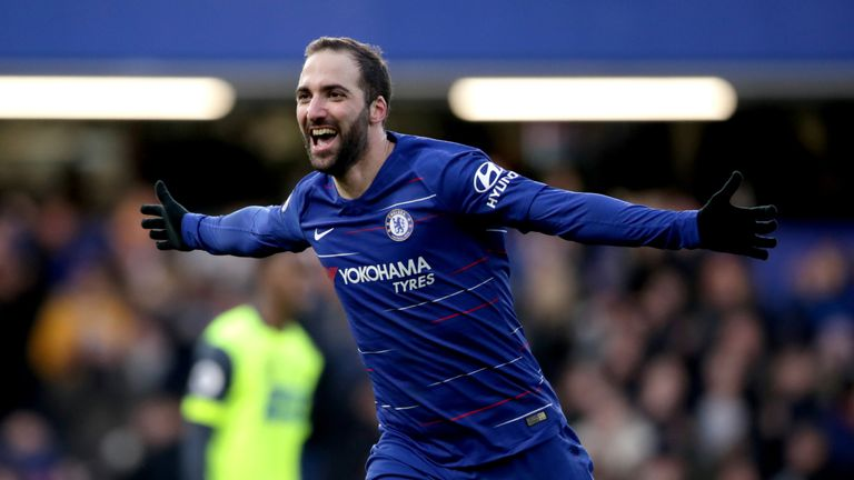 Chelsea's Gonzalo Higuain celebrates scoring his side's fourth goal