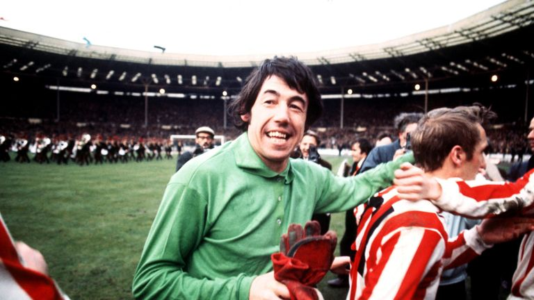 Banks celebrates Stoke's League Cup Final win over Chelsea in 1972