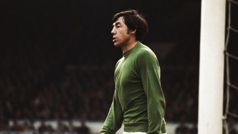 Stoke City and England goalkeeper Gordon Banks looks on during a game circa 1967