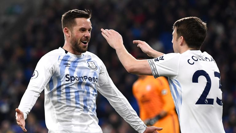 Gylfi Sigurdsson celebrates his opener with Seamus Coleman, the man who made it