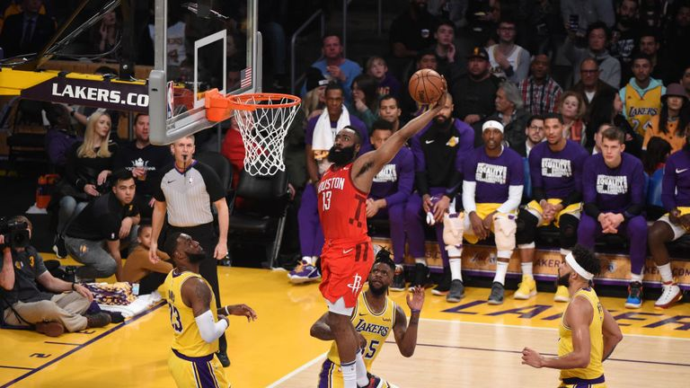 James Harden of the Houston Rockets dunks the ball against the Los Angeles Lakers