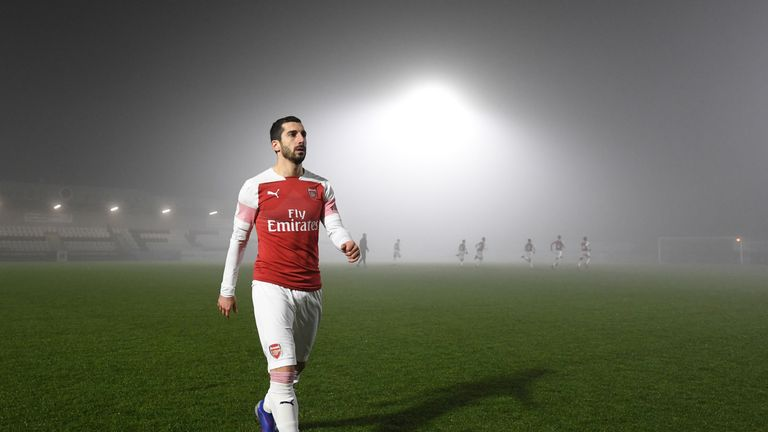 Henrikh Mkhitaryan walks off the pitch after the abandoned Premier League 2 match between Arsenal U23 and West Ham United at Meadow Park on February 4, 2019