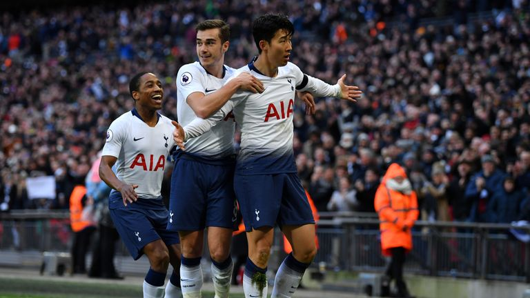 Heung-Min Son scored Spurs' third against Leicester