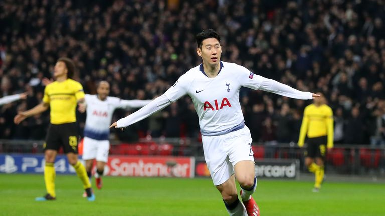 Heung-Min Son celebrates scoring against Borussia Dortmund