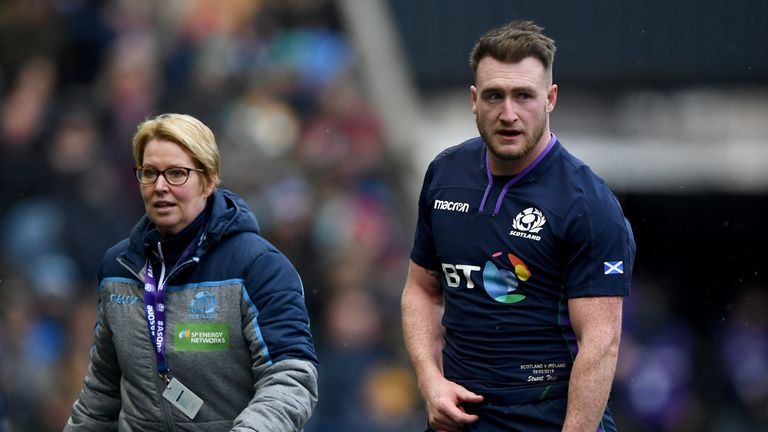 Full-back Stuart Hogg suffered a shoulder injury after just 17 minutes