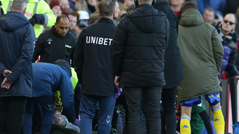 Clarke was treated at the side of the pitch at the Riverside