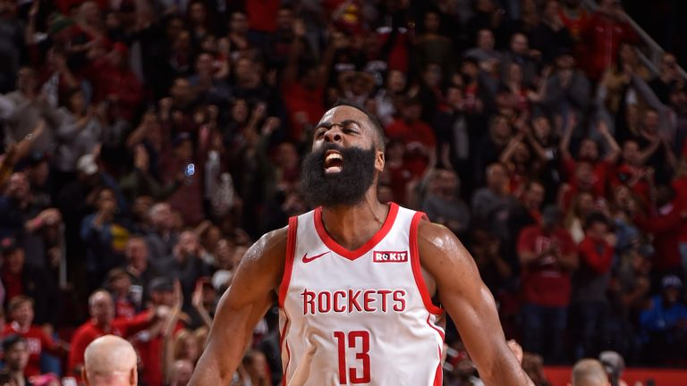 James Harden #13 of the Houston Rockets yells and celebrates during the game against the Orlando Magic on January 27, 2019 at the Toyota Center in Houston, Texas.