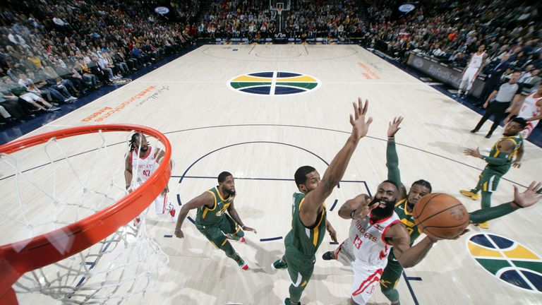 d8f1ce7fa7f James Harden  13 of the Houston Rockets shoots the ball against the Utah  Jazz on