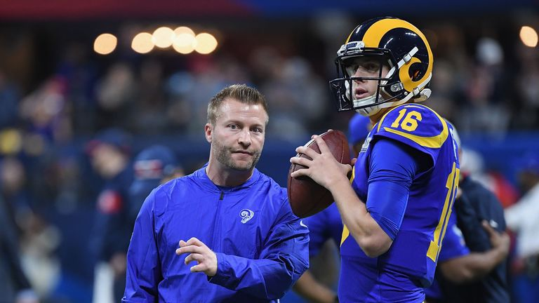Sean McVay [L] and Jared Goff came up short at Mercedes-Benz Stadium