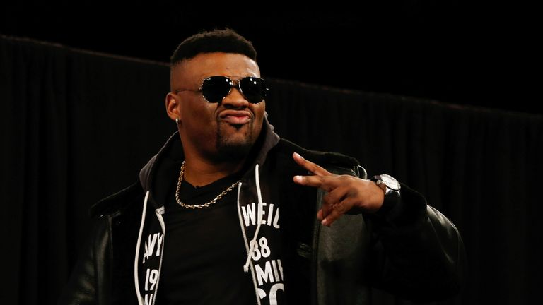 Jarrell Miller is introduced prior to a press conference at Madison Square Garden on February 19, 2019