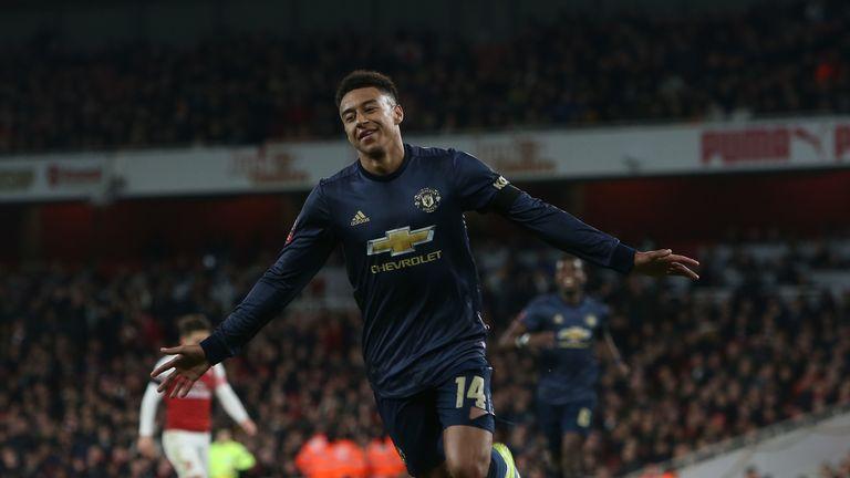 Lingard celebrates for United