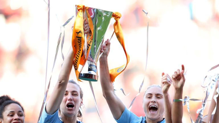 Jill Scott (L) played the full 120 minutes for Manchester City in a penalty shoot-out League Cup final victory win against Arsenal on Saturday