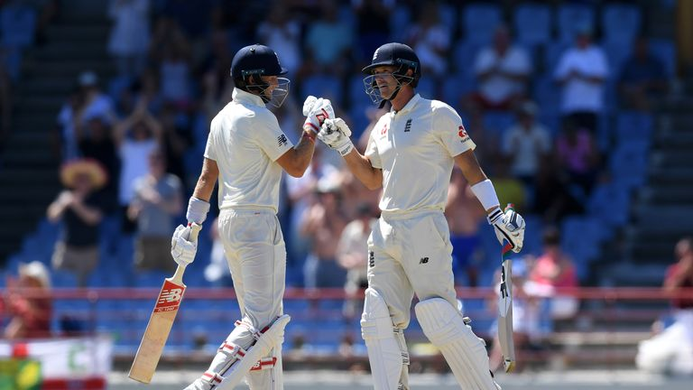 Joe Root congratulates Joe Denly on his maiden Test half-century