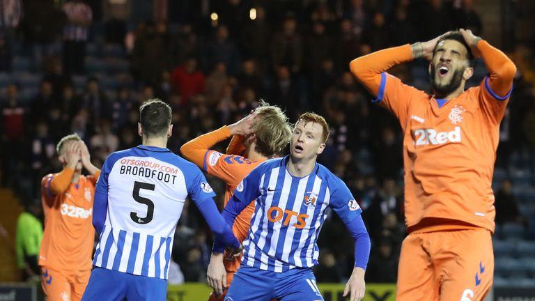 Rangers' Joe Worrall comes close to breaking the deadlock against Kilmarnock on Saturday