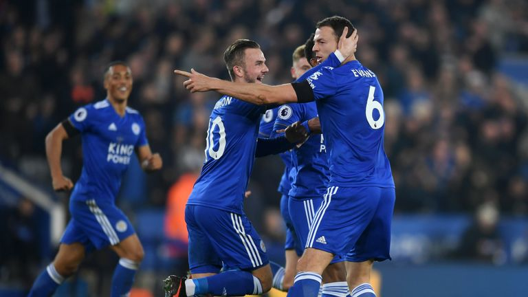 Jonny Evans of Leicester City celebrates with teammates after scoring his team's first goal during the Premier League match between Leicester City and Crystal Palace at The King Power Stadium on February 23, 2019 in Leicester, United Kingdom.