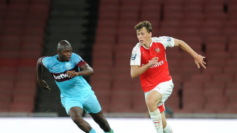 Brown in action against former club Arsenal at the Emirates Stadium in 2015