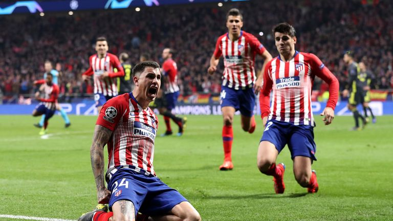 Jose Gimenez of Atletico Madrid celebrates after scoring his team's
