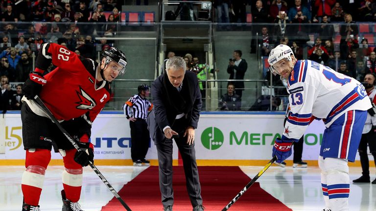 Jose Mourinho dropped the puck for the start of the ice hockey game in Russia
