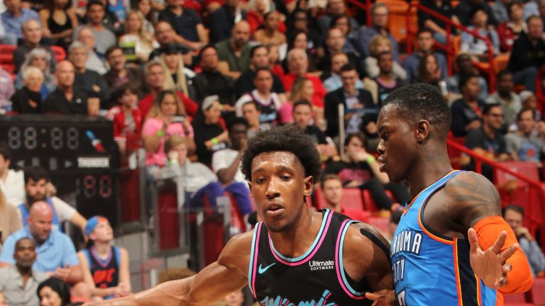 Josh Richardson #0 of the Miami Heat drives to the basket against the Oklahoma City Thunder on February 1, 2019 at American Airlines Arena in Miami, Florida.