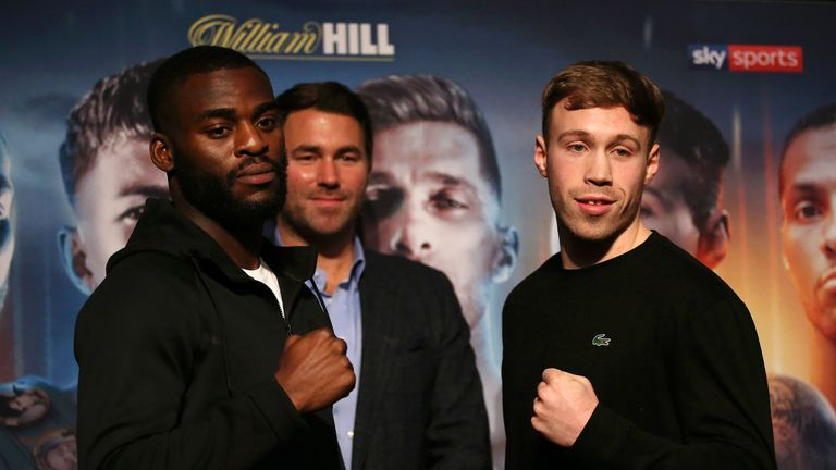 Joshua Buatsi and Liam Conroy pose for a photo during the Charlie Edwards vs Angel Moreno press conference at the Grange City Hotel