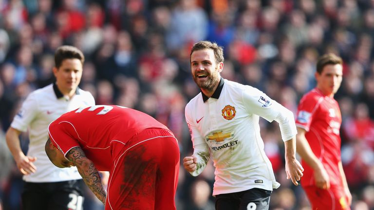 Mata celebrates his match-winning performance against Liverpool in March 2015