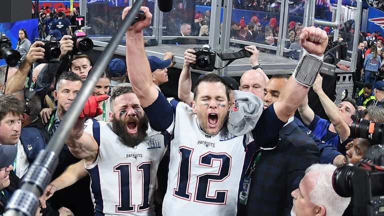 Tom Brady celebrates his record sixth Super Bowl win with the New England Patriots
