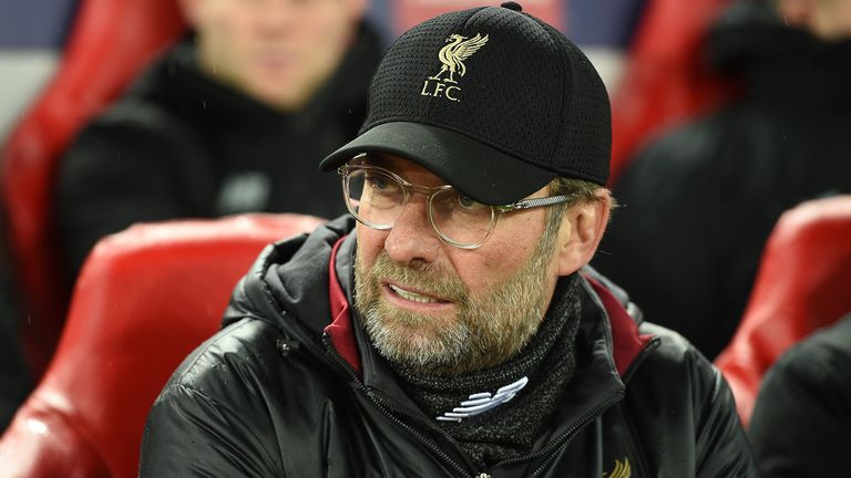 Liverpool's German manager Jurgen Klopp awaits kick off in the UEFA Champions League round of 16, first leg football match between Liverpool and Bayern Munich at Anfield stadium in Liverpool, north-west England on February 19, 2019