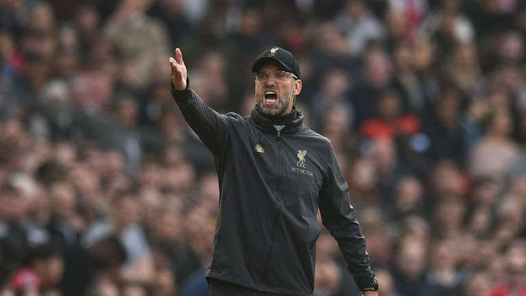 Jurgen Klopp gestures from the touchline during the 0-0 draw between Manchester United and Liverpool at Old Trafford