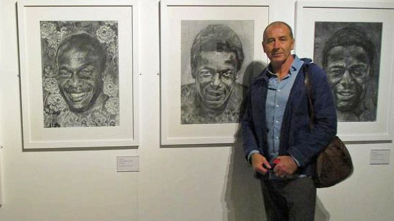 Yates' 'Triptych' of Fashanu charcoal portraits were recently exhibited at the 'Black Looks' retrospective at the National Football Museum