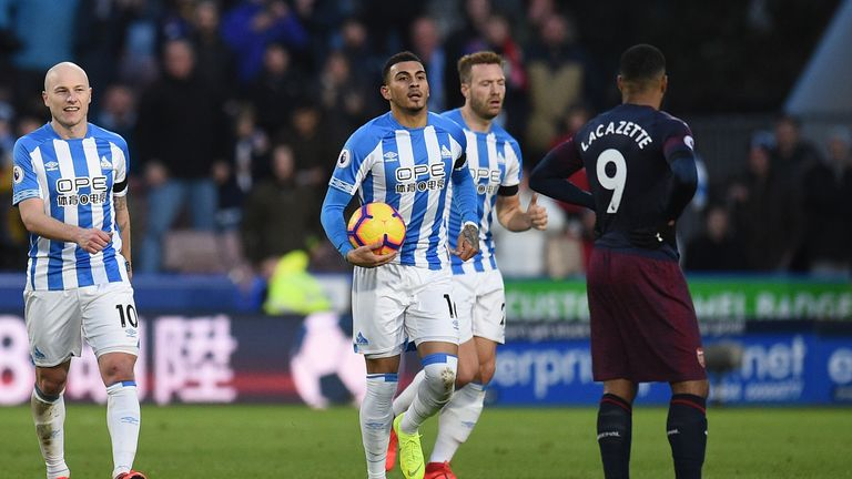 Karlan Grant celebrates a late consolation goal for Huddersfield Town