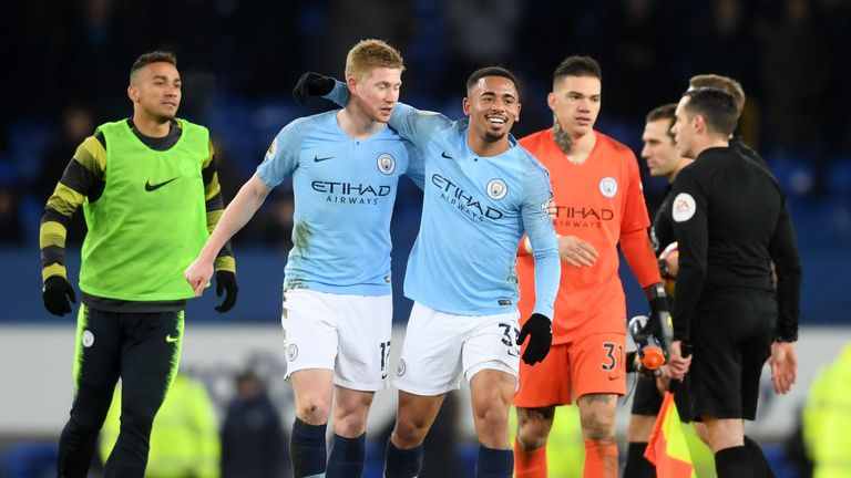 Kevin De Bruyne and Gabriel Jesus celebrate Man City's 2-0 win over Everton