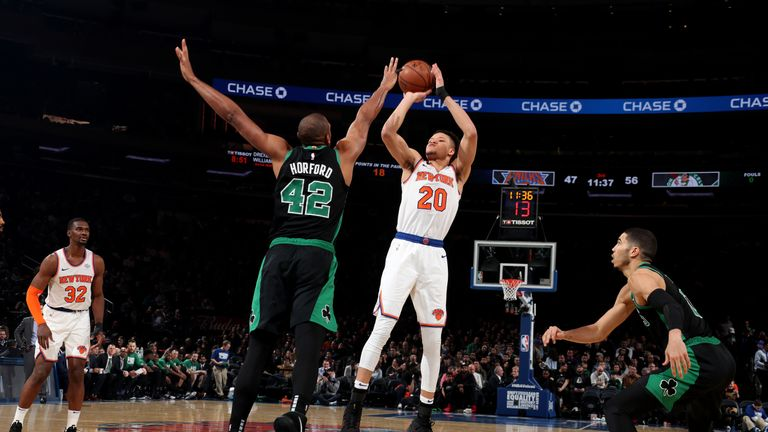 NEW YORK, NY FEBRUARY 1:  Kevin Knox #20 of the New York Knicks shoots the ball against the Boston Celtics on February 1, 2019 at Madison Square Garden in New York City, New York
