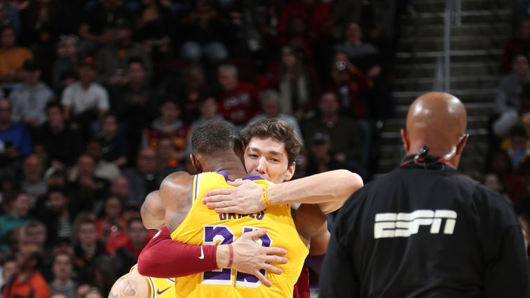LeBron James #23 of the Los Angeles Lakers and Cedi Osman #16 of the Cleveland Cavaliers during a game on November 21, 2018 at Quicken Loans Arena in Cleveland, Ohio.